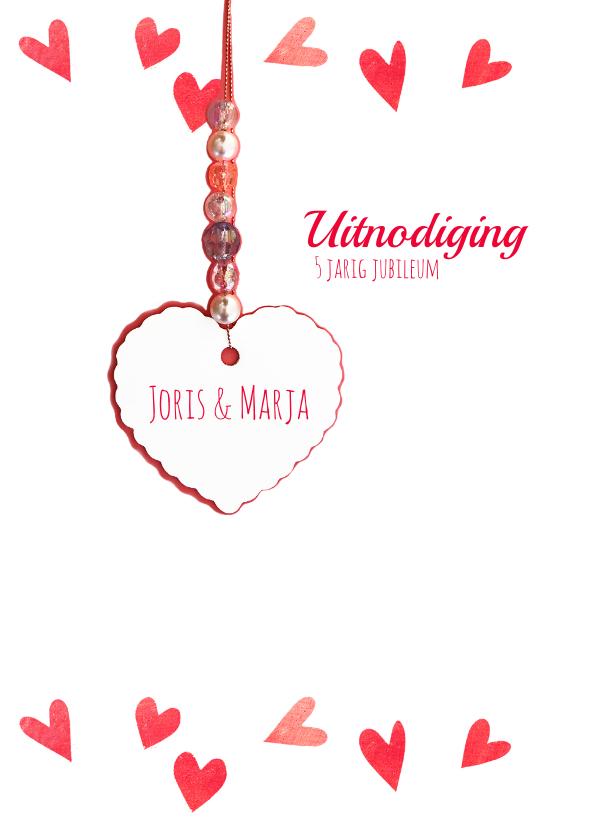 Jubileumkaart hartjes rood 5 2