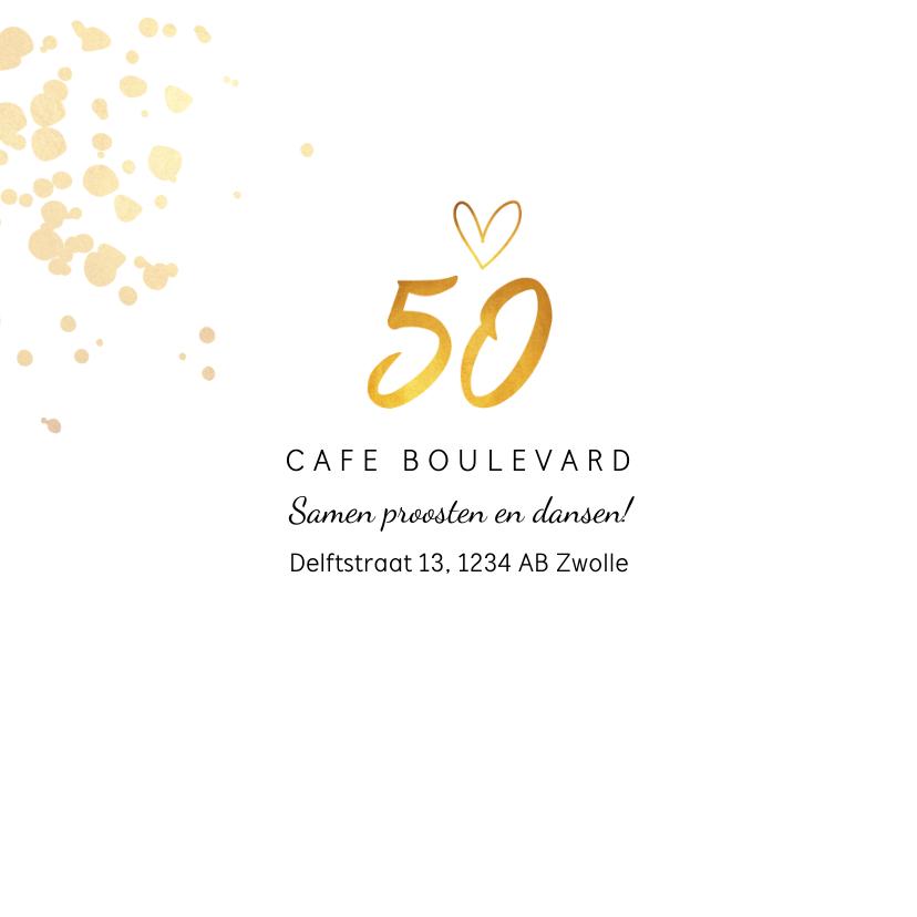 Jubileumkaart huwelijk 50 jaar goudlook stijlvol 2