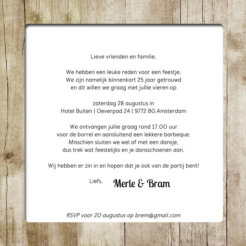 Jubileumkaart huwelijk hout - SG 3