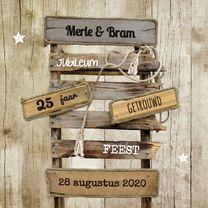 Uitnodigingen - Jubileumkaart huwelijk hout - SG
