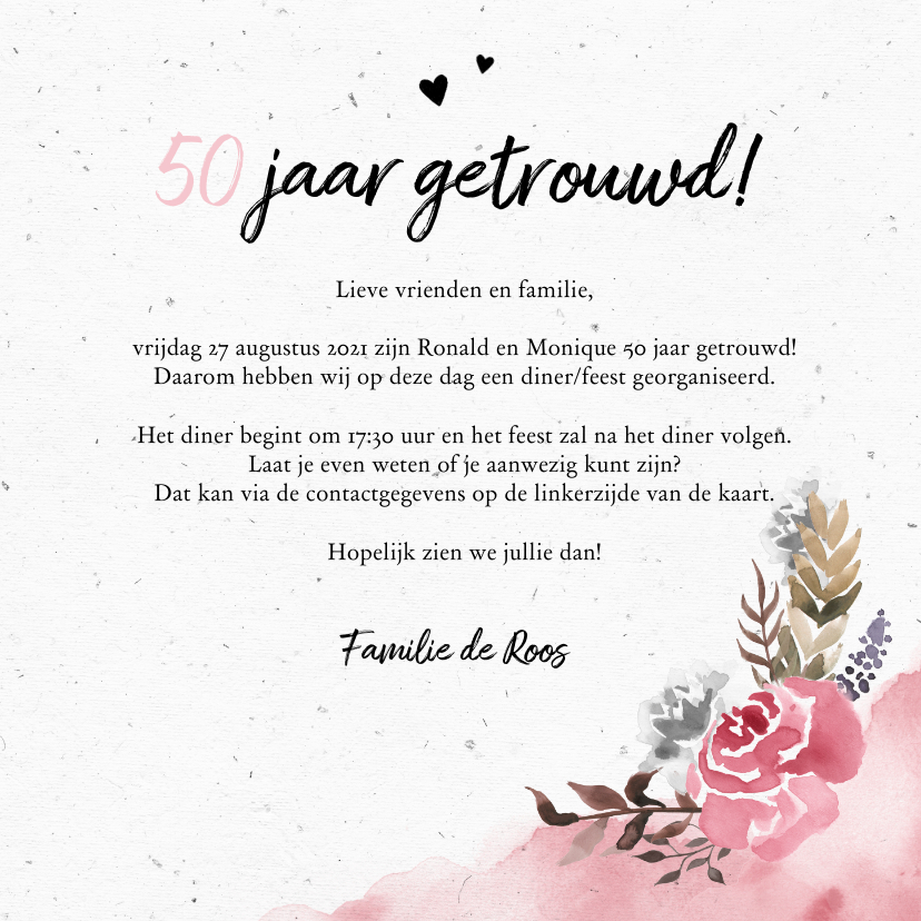 Jubileumkaart huwelijk met watercolor bloemen  3
