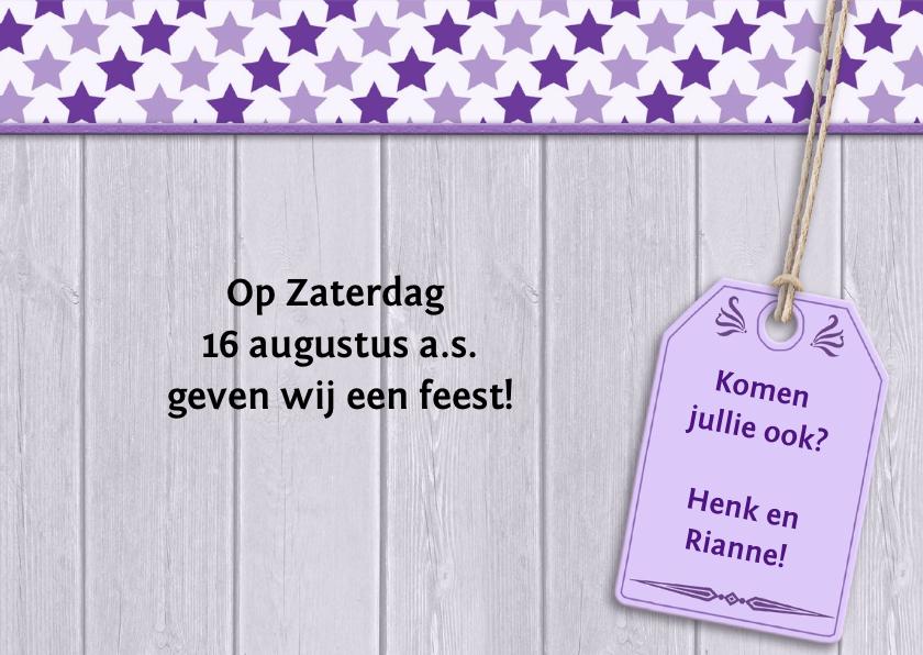 Jubileumkaart met bloemen en sterren voor een feest 3