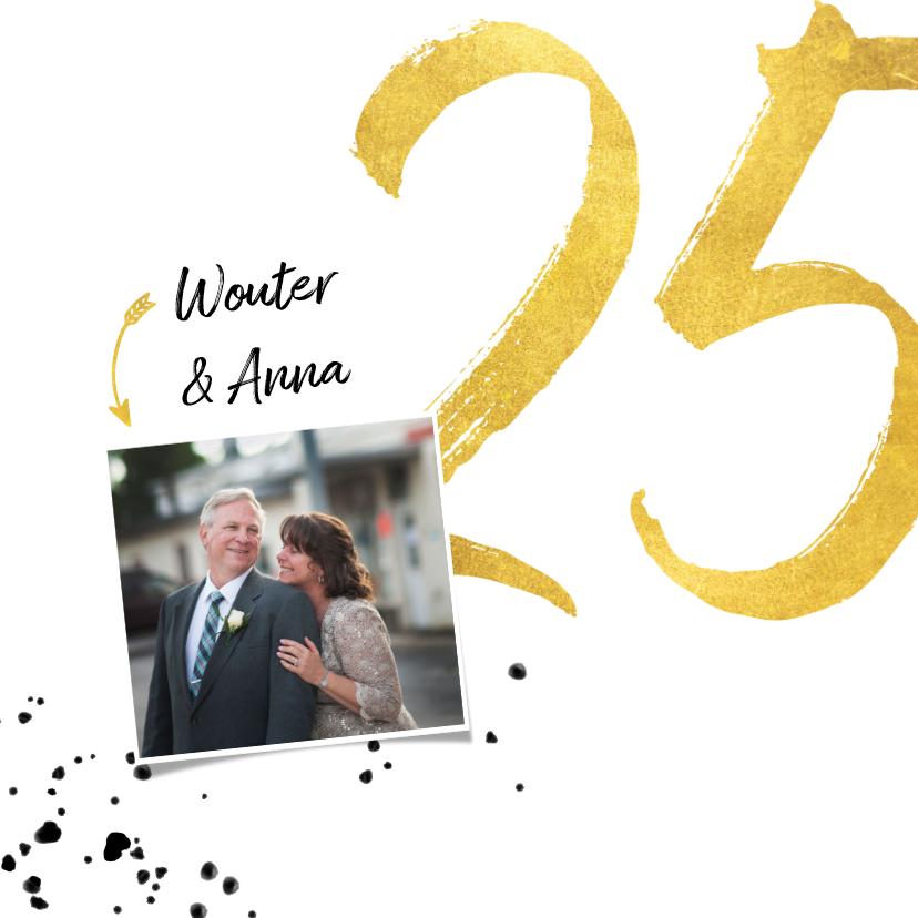 Jubileumkaart met gouden 25, spetters en foto 2