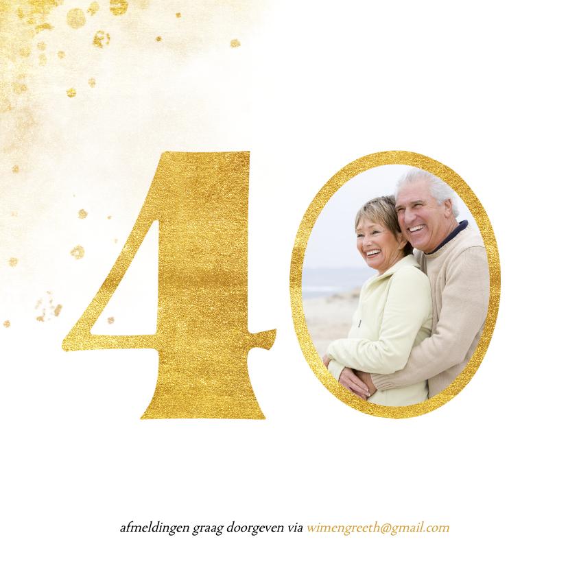 Jubileumkaart met gouden 40 en foto 2