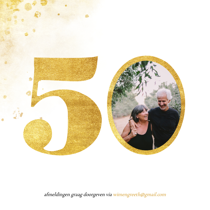 Jubileumkaart met gouden 50 en foto  2