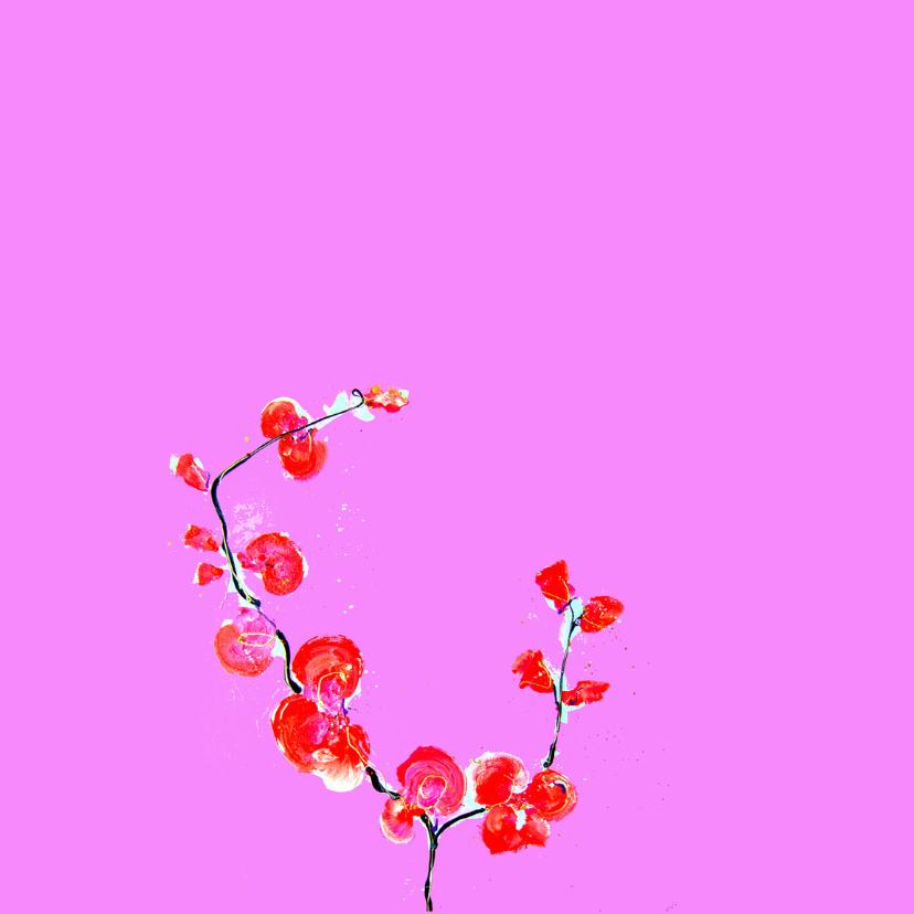 Jubileumkaart orchidee roze 2