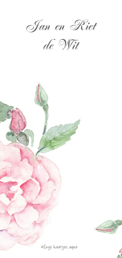Jubileumkaart romantische roos 2