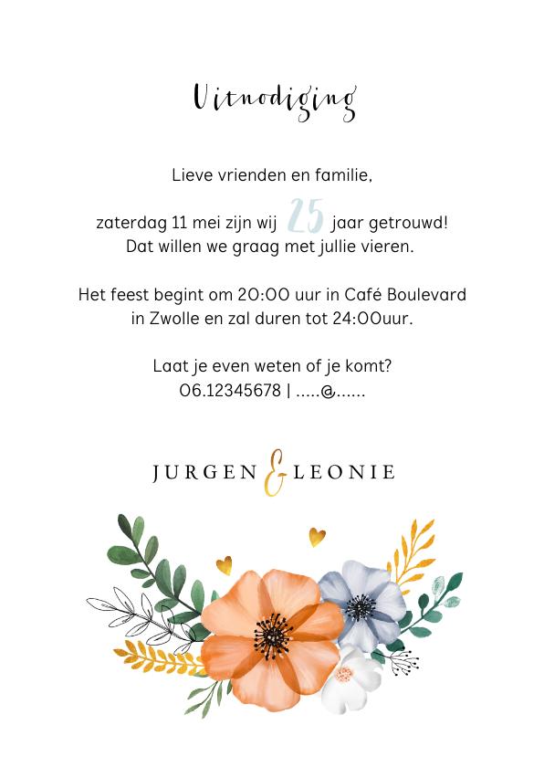 Jubileumkaart  uitnodiging klassiek en stijlvol met bloemen 3