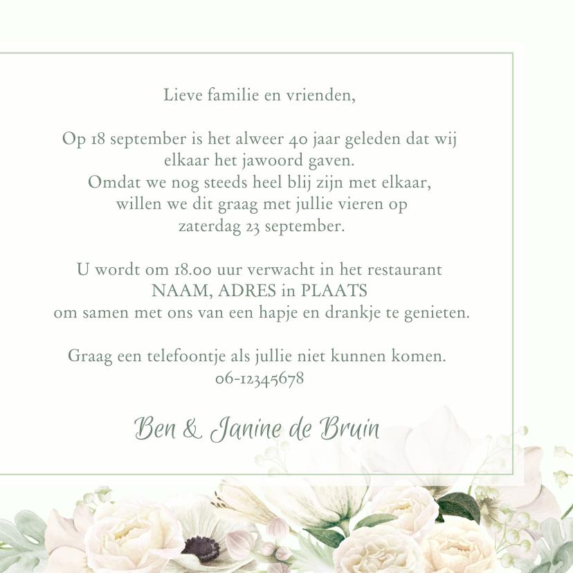 Jubileumkaart witte rozen en anemonen 3