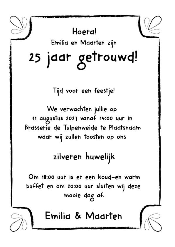 Jubileumkaart zilveren huwelijk zwart wit typografisch - DH 3