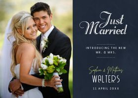 Trouwkaarten - Just Married Schoolbord