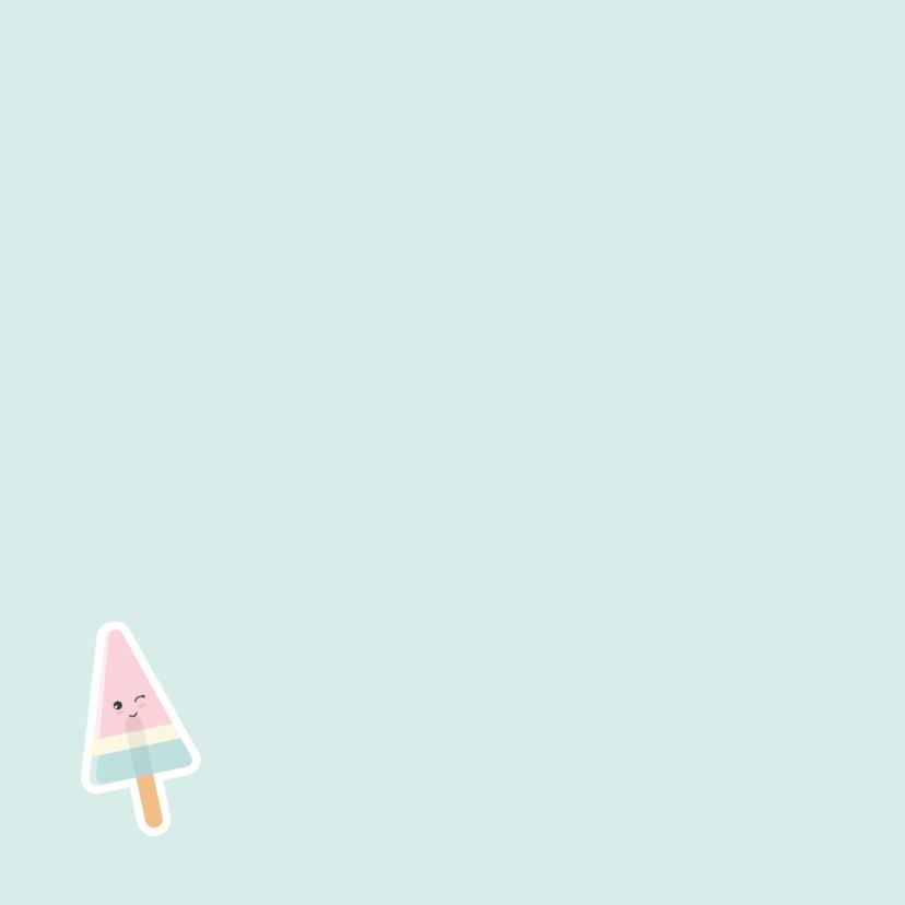 Kaart 'Vakantiegroetjes uit...' met foto en ijsje 2