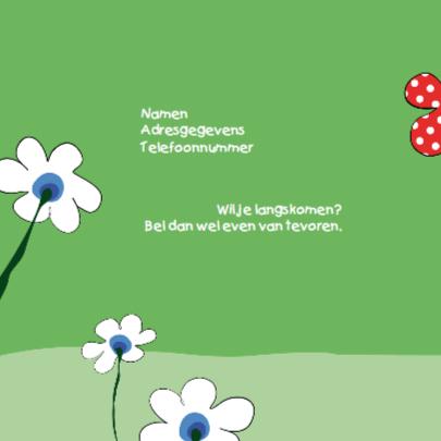 Kaartje met bloemetje met stippen 2