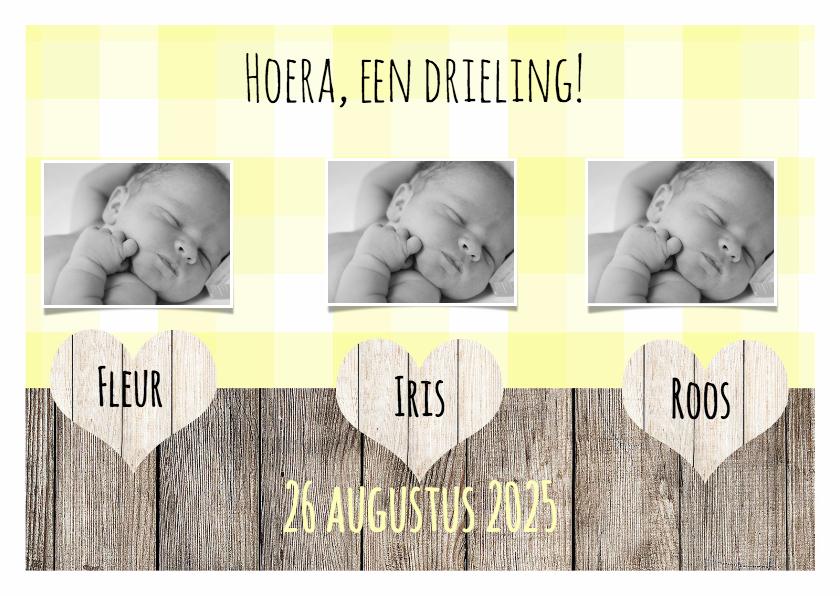 Kaartje voor een drieling   DH   Geboortekaartjes   Kaartje2go
