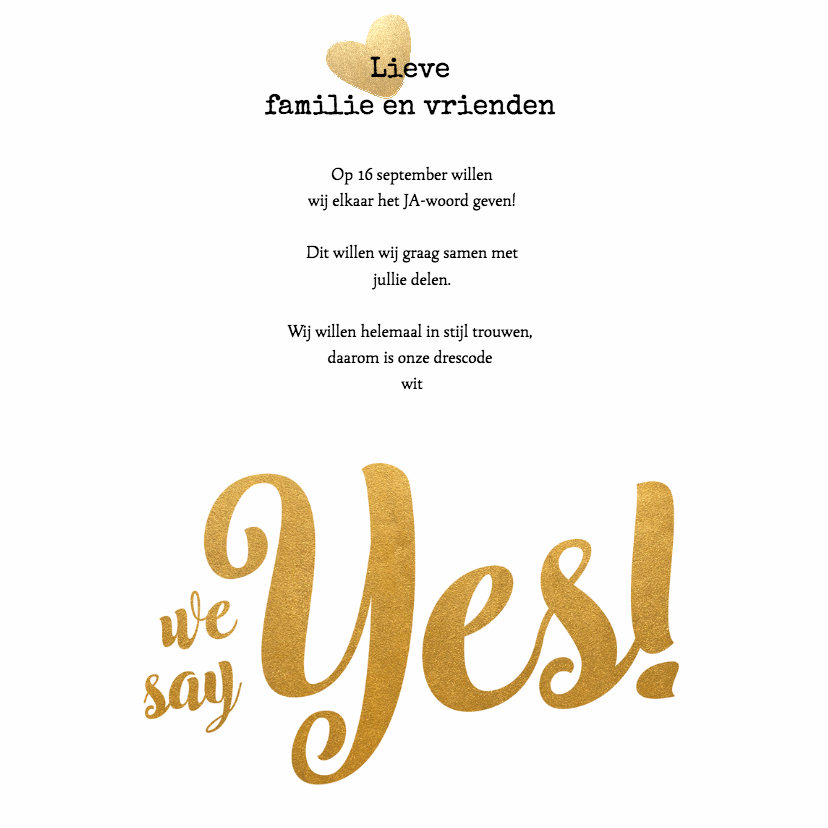 Kalender goud We say yes! - BK 2