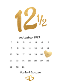 Jubileumkaarten - Kalender jubileum 12 1/2 jaar - BK