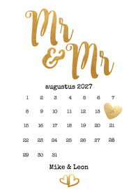 Trouwkaarten - Kalender Mr & Mr goud - BK