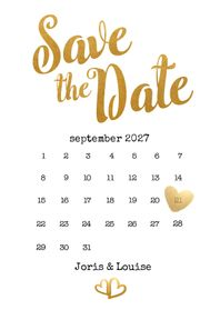 Trouwkaarten - Kalender Save the Date goud - BK