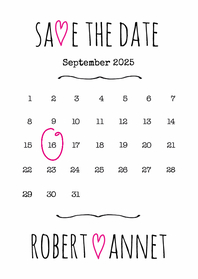 Trouwkaarten - Kalender Save the Date wit- BK