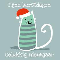 Kerstkaarten - Kat met kerstmuts