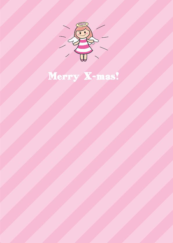 Kerskaart kerstboom met gezichtje en engeltjespiek 3