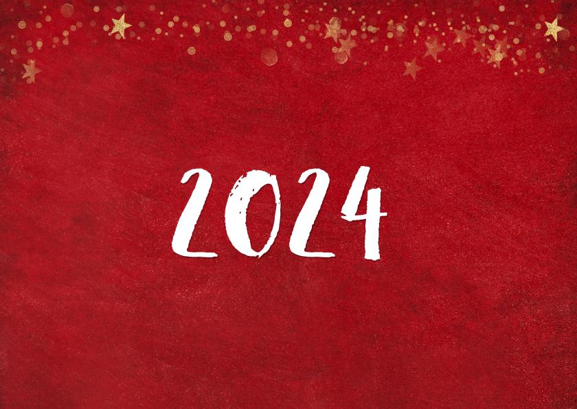 Kerst ansichtkaart met rode achtergrond en gouden sterren 2