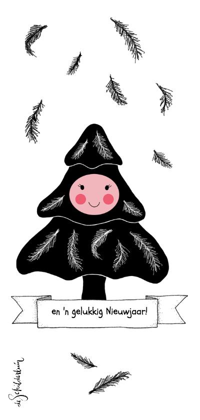 Kerst boompje zwart roze - HR 2