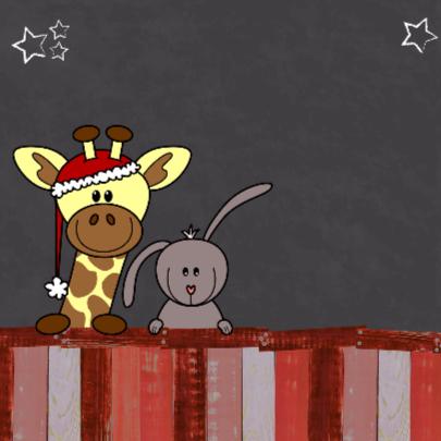 Kerst dieren krijtbord rood V-HB 2