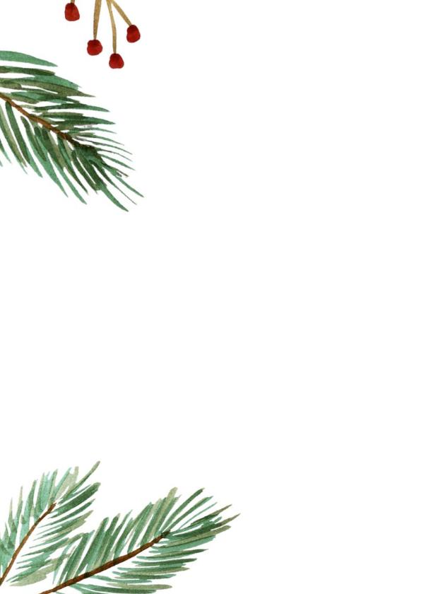 Kerst diner kaart met kerstboom takjes en rode besjes 2