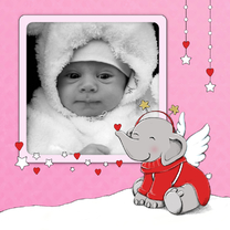 Kerstkaarten - Kerst eerste kerst baby roze IH