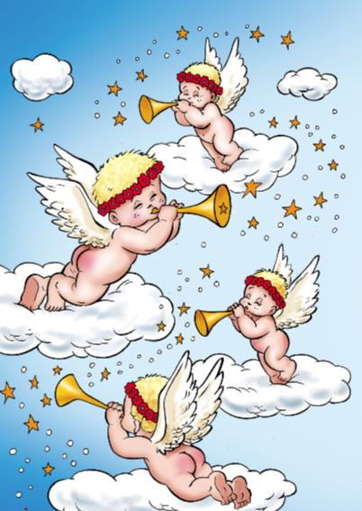 kerst engeltjes 3 engeltjes met maan 2