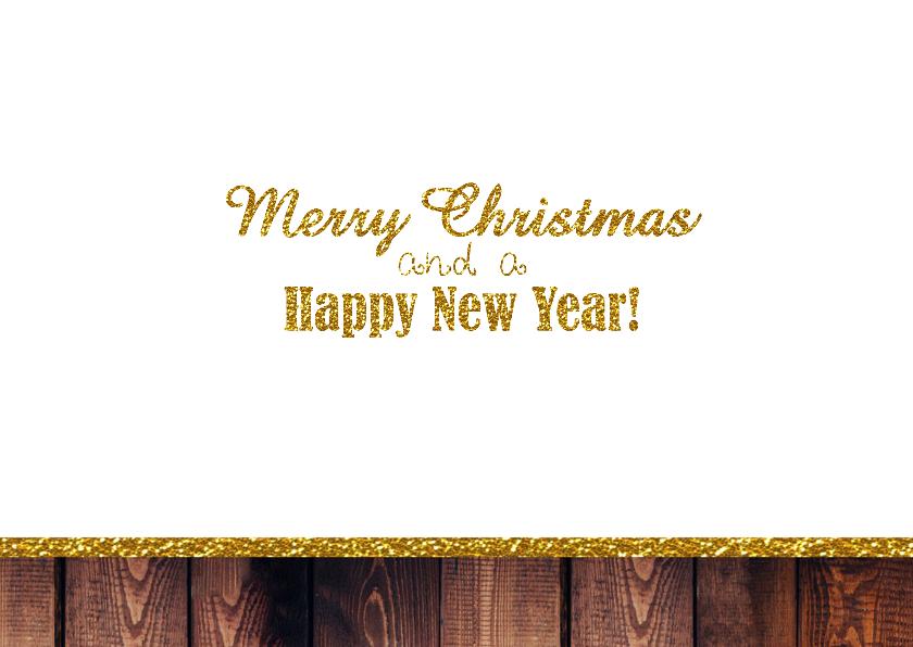 Kerst foto hout glitter goud 3