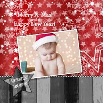 Kerstkaarten - Kerst foto modern ster hout rood