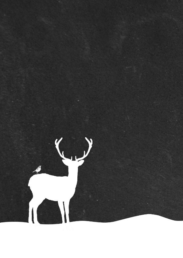 Kerst - Hert in sneeuw krijtbord 2