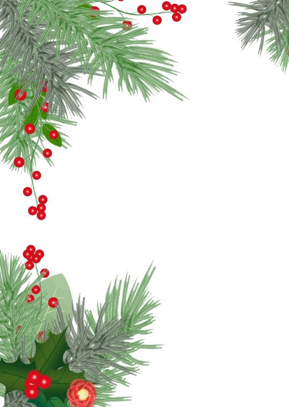 Kerst hippe foto kaart botanica hulst en dennentakken 2