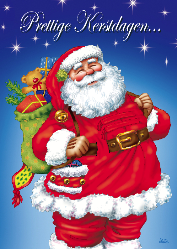 Kerst Kerstman 1 Kerstman Met Zak Op Rug Kaartje2go
