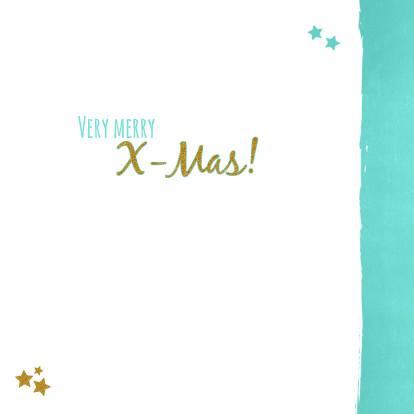 Kerst lief fotokaart blauw goud 3