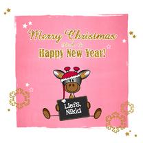 Kerstkaarten - Kerst lief girafje roze goud
