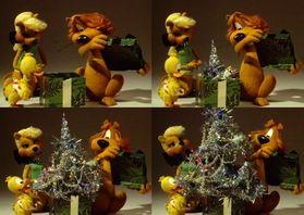 Kerstkaarten - Kerst Loeki strip kerst kado  -A