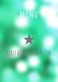 Menukaarten - Kerst menu lichtjes eigen tekst