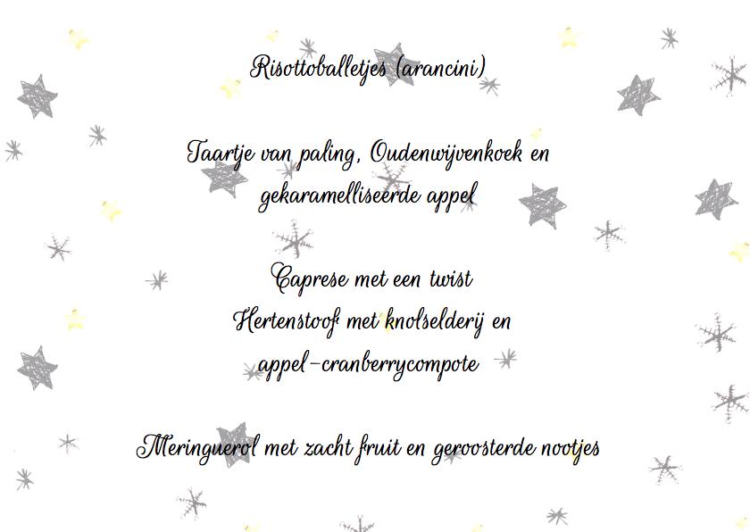 kerst menukaart sterren 3