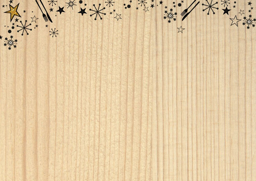 Kerst originele uitnodiging kerstdiner hout en bestek 2