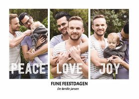 Kerstkaarten - Kerst Peace Love Joy