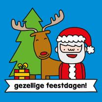 Kerstkaarten - Kerst Rendier en Kerstman