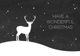 Kerstkaarten - Kerst - Rendier met sneeuw