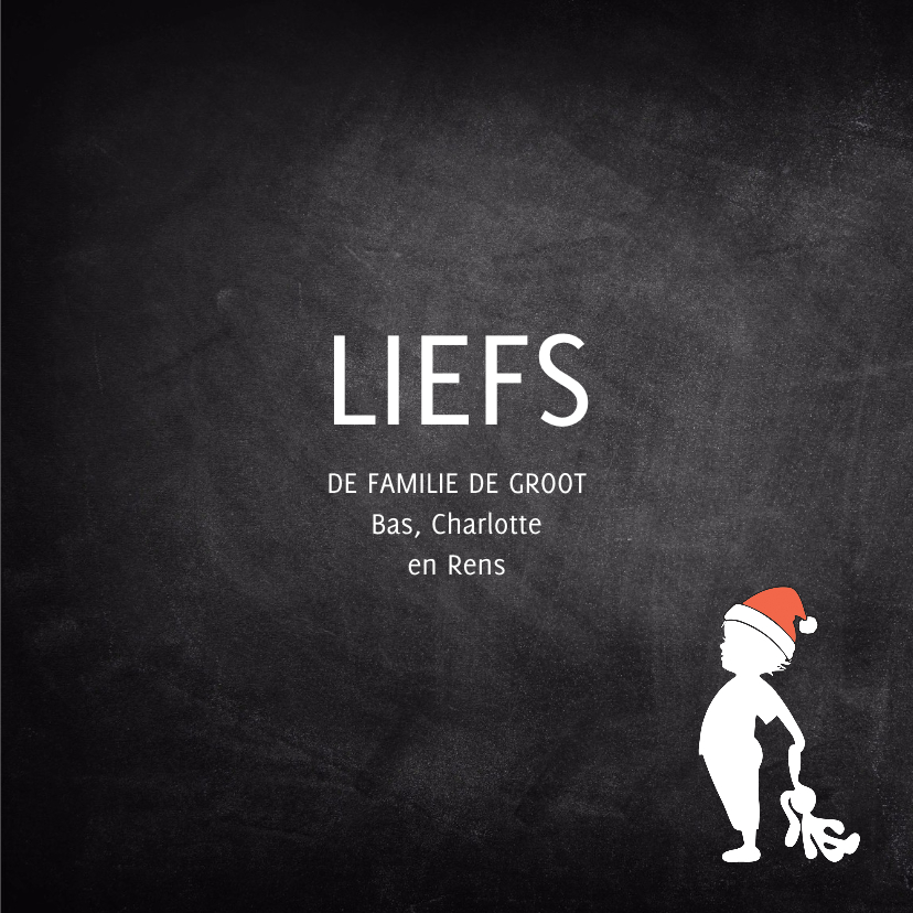 Kerst silhouet jongen knuffel krijtbord - MW 3