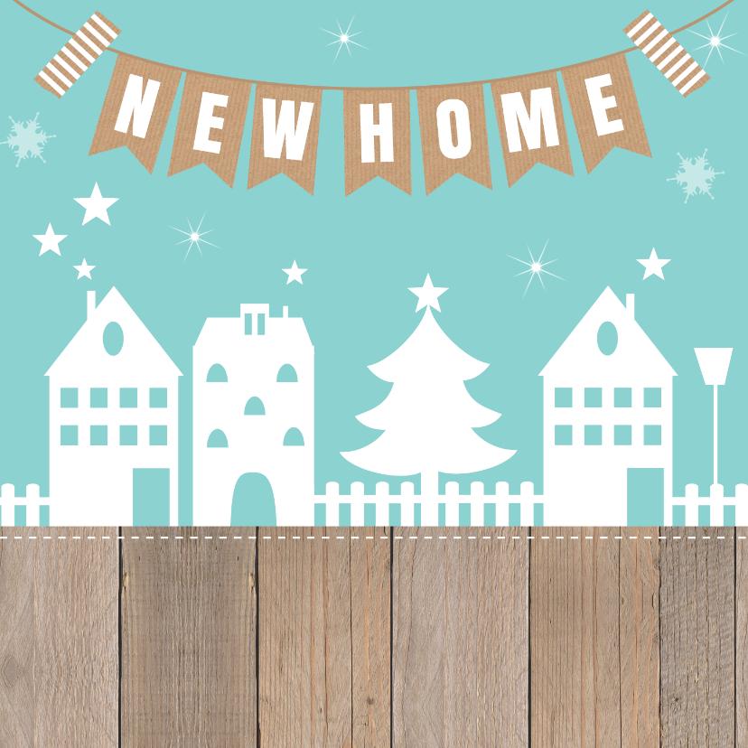 Kerst-verhuiskaart huisjes slinger hout - LB 2