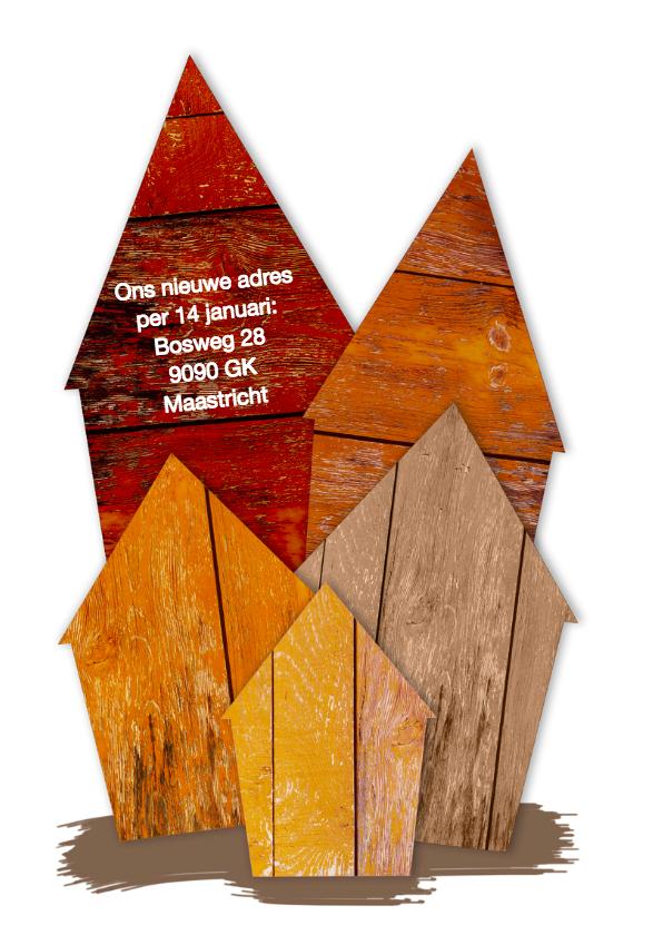 Kerst verhuiskaart huisjes van hout 2