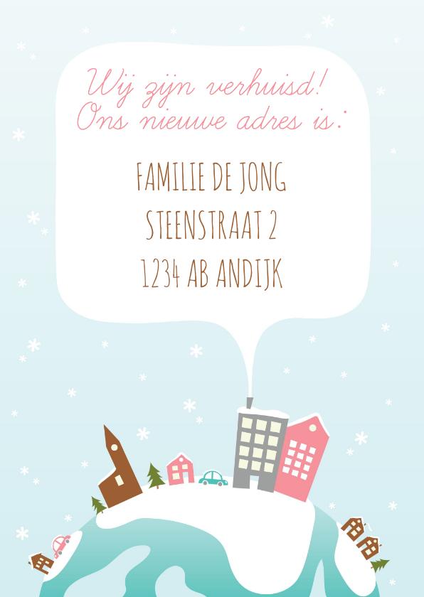 Kerst Verhuiskaart Illustratie Huisjes 2