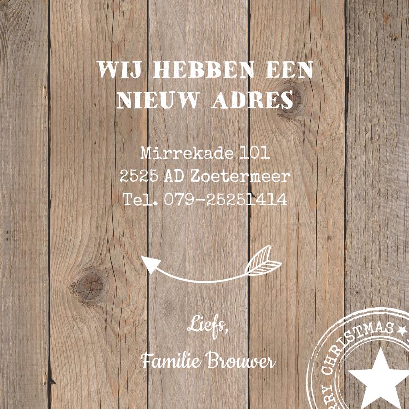 Kerst verhuiskaart label krijtbord hout - LB 3